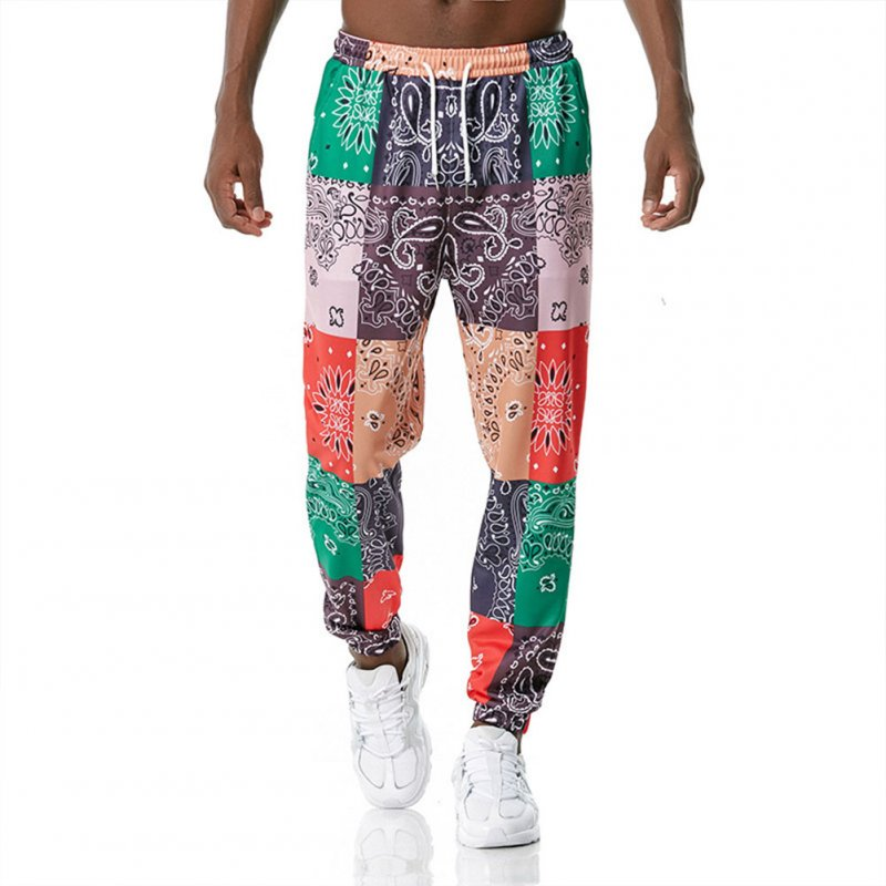 Men's Casual Pants Paisley Retro Style Printing Casual Sports Jogging Pants Red green _L