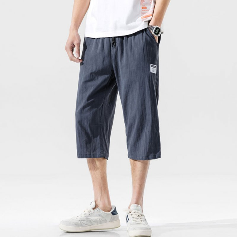 Men's Casual Pants Summer Large Size Casual Cotton and Linen Cropped Sports Pants Dark gray _L