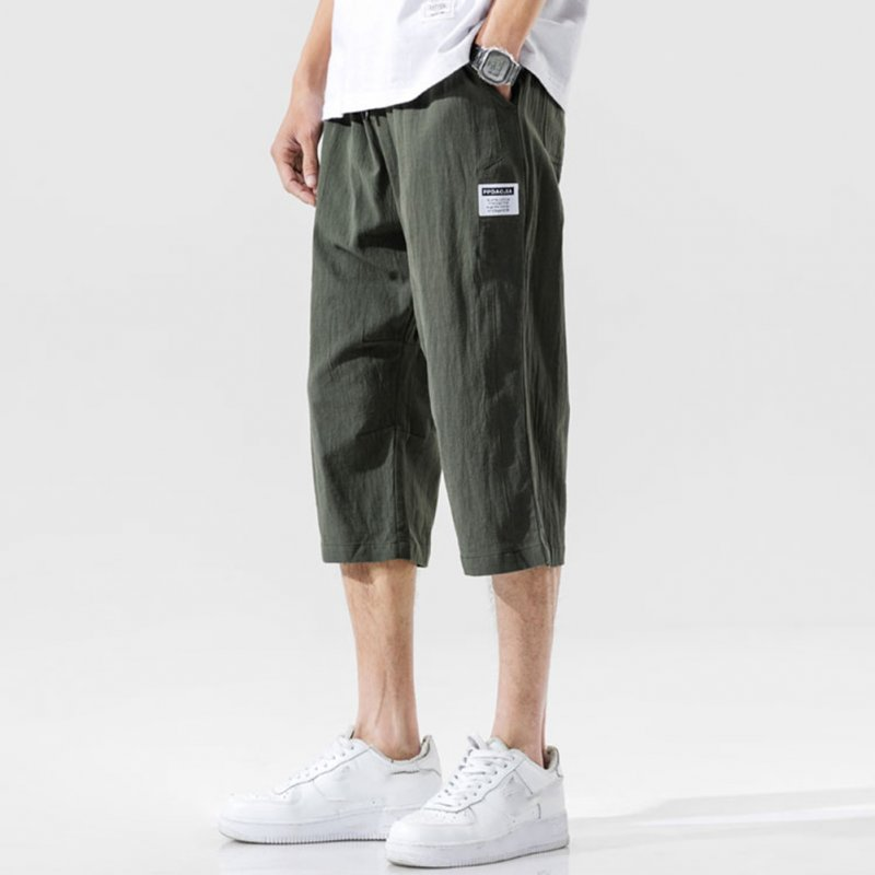 Men's Casual Pants Summer Large Size Casual Cotton and Linen Cropped Sports Pants Olive green_M
