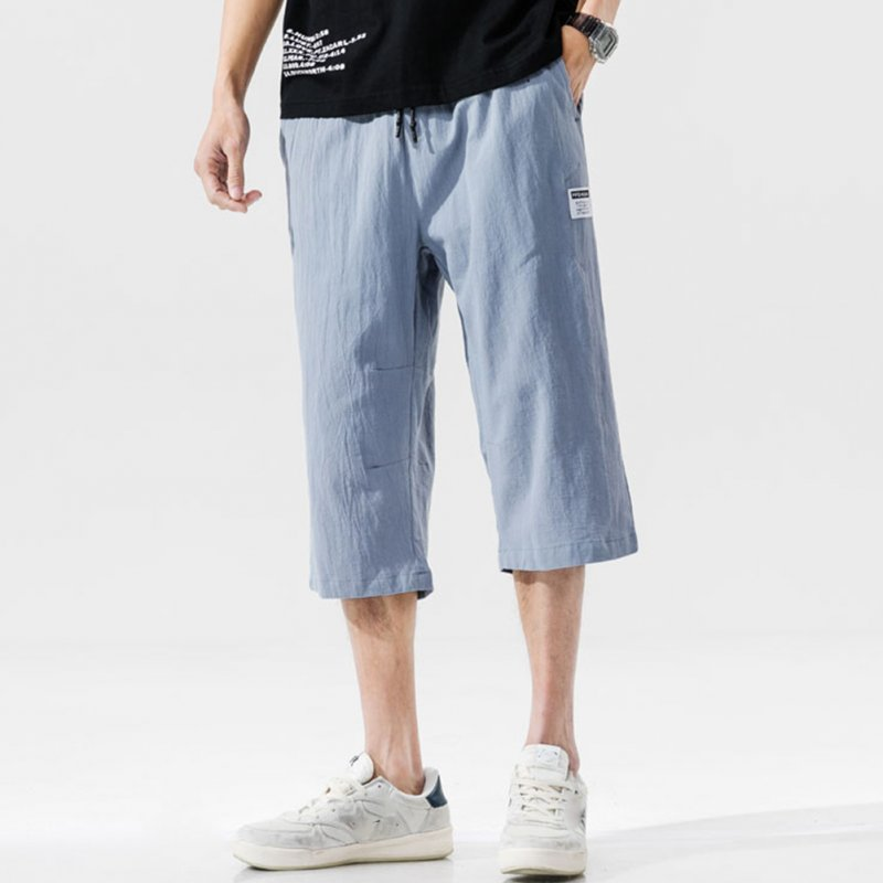 Men's Casual Pants Summer Large Size Casual Cotton and Linen Cropped Sports Pants Light blue _L
