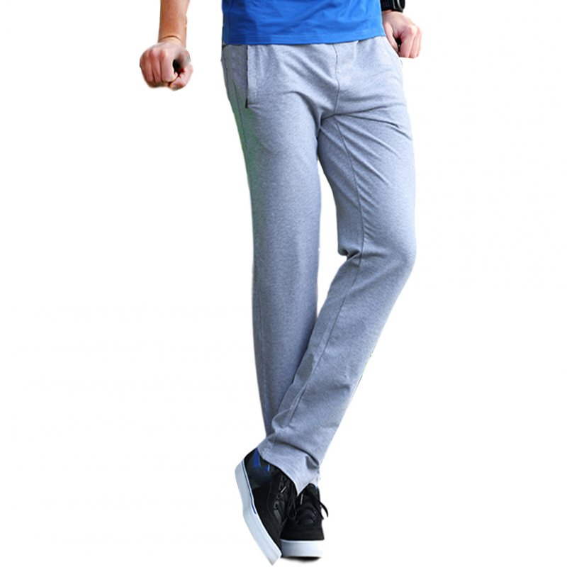Men's Casual Pants Thin Type Cotton Loose Running Straight Sports Trousers light grey_L