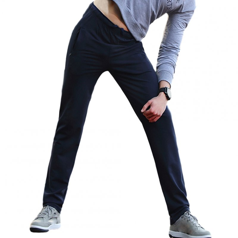 Men's Casual Pants Thin Type Cotton Loose Running Straight Sports Trousers Navy blue_L
