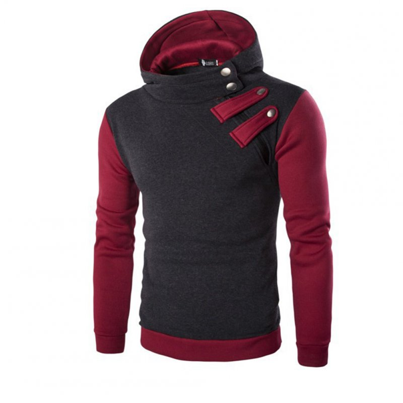 Men's Cause Hooded Slim Fit Cotton Long Sleeve Pullover Sweatershirt Tops Hoodies black_M