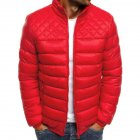 Men's Cotton Padded Clothes Chest Diamond-pattern Zipper Stitching Coat Red _M