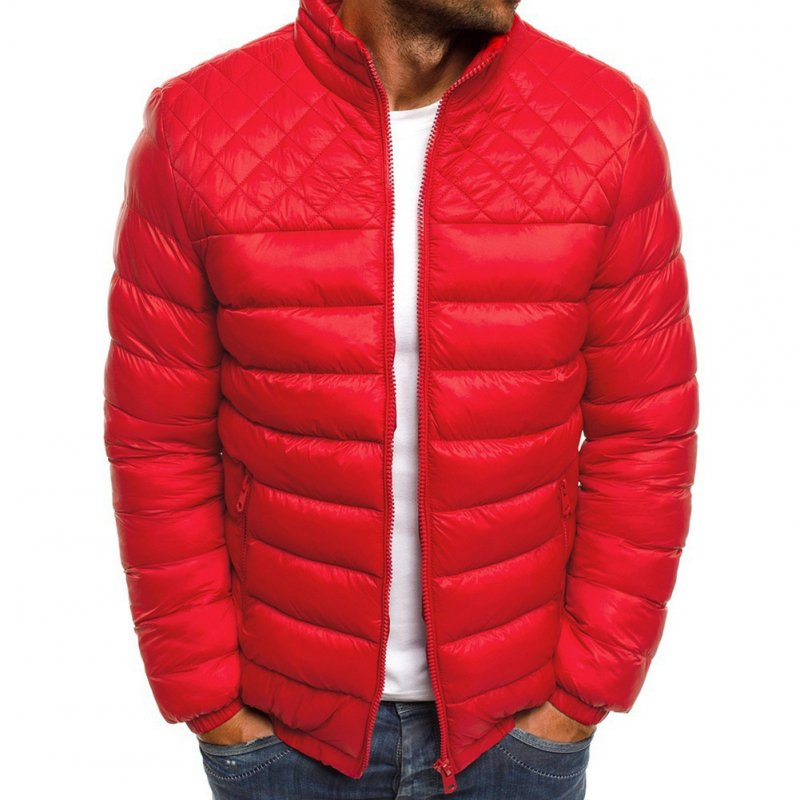 Men's Cotton Padded Clothes Chest Diamond-pattern Zipper Stitching Coat Red_L