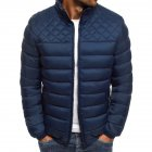 Men's Cotton Padded Clothes Chest Diamond-pattern Zipper Stitching Coat Navy _2XL