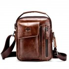 Men's Crossbody Pack Solid Color Sports Leisure Leathe Shoulder Bag Dark brown
