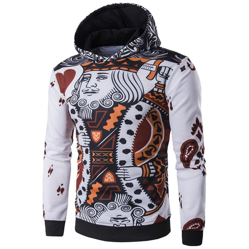 Men's Fashion 3D Playing Cards Poker Printing Pullover Hoodie Sweatshirts