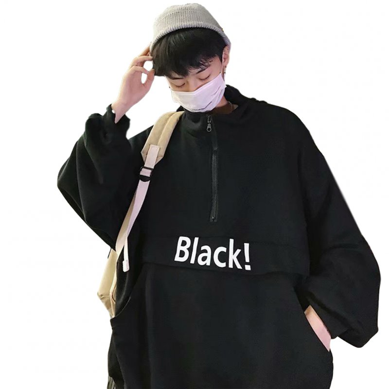 Men's Hoodie Autumn and Winter Loose Pullover Letter Printing Jacket Black _M