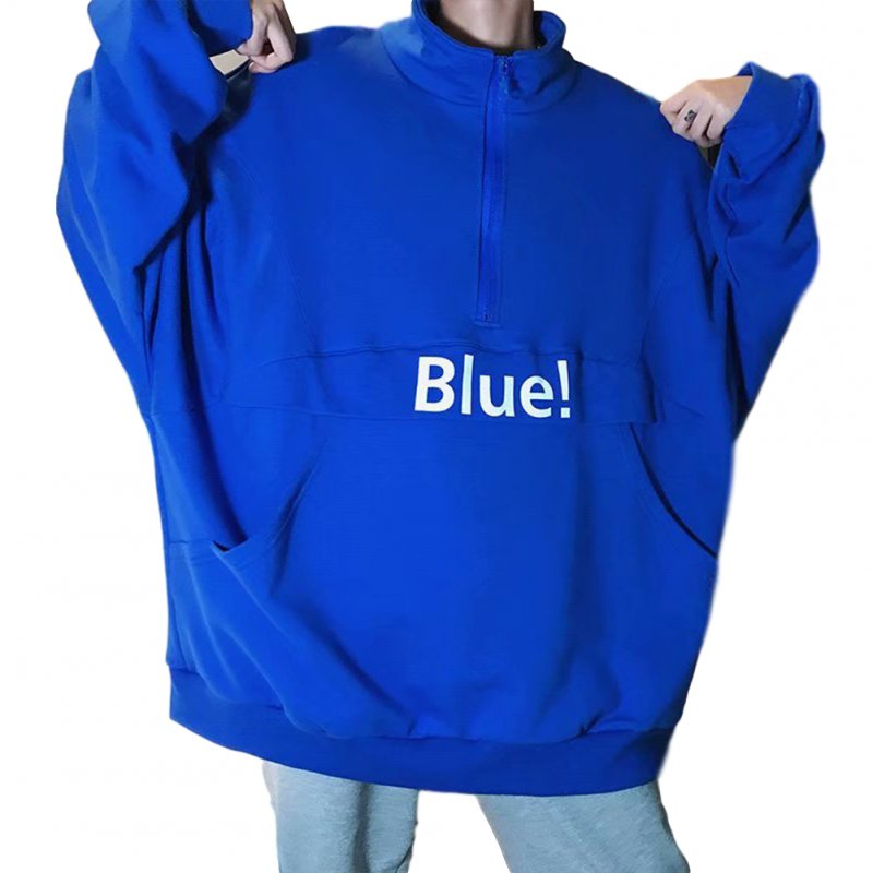 Men's Hoodie Autumn and Winter Loose Pullover Letter Printing Jacket Blue _M