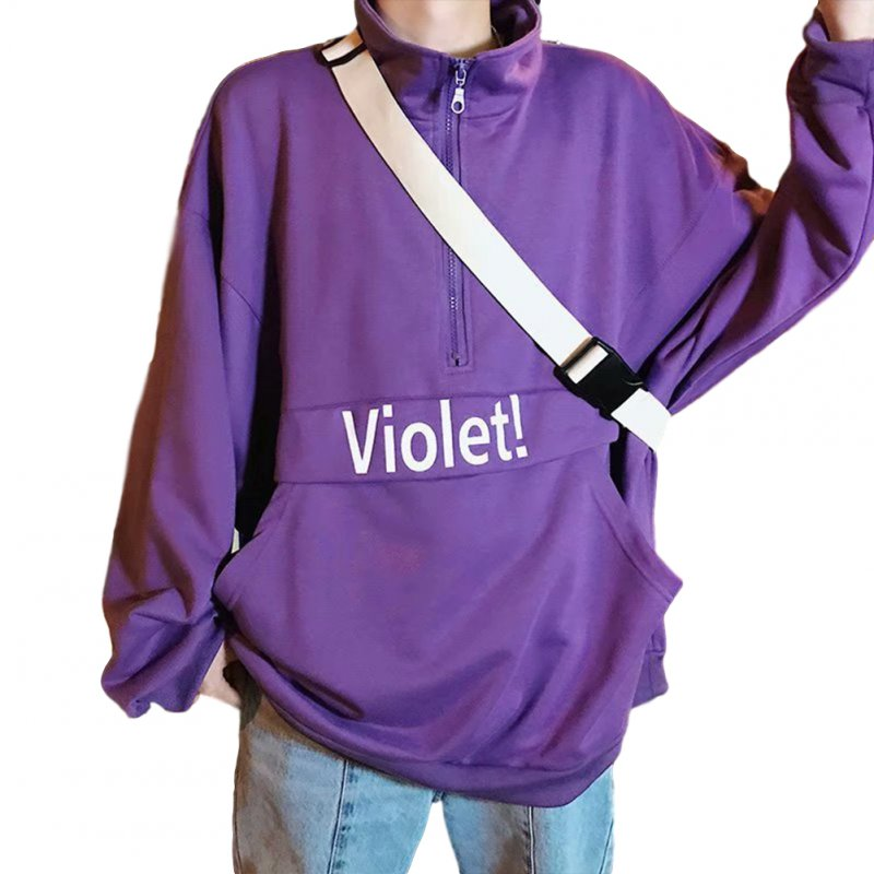 Men's Hoodie Autumn and Winter Loose Pullover Letter Printing Jacket Purple _M