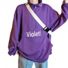 Men's Hoodie Autumn and Winter Loose Pullover Letter Printing Jacket Purple_XXL