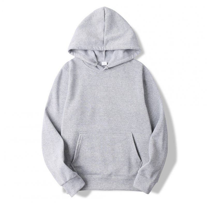 Men's Hoodie Autumn and Winter Loose Long-sleeve Velvet Solid Color Pullover Hooded Sweater gray_L