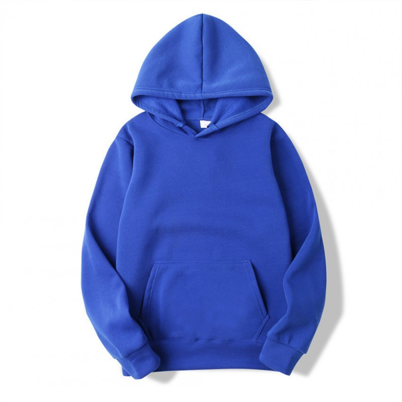 Men's Hoodie Autumn and Winter Loose Long-sleeve Velvet Solid Color Pullover Hooded Sweater blue_L