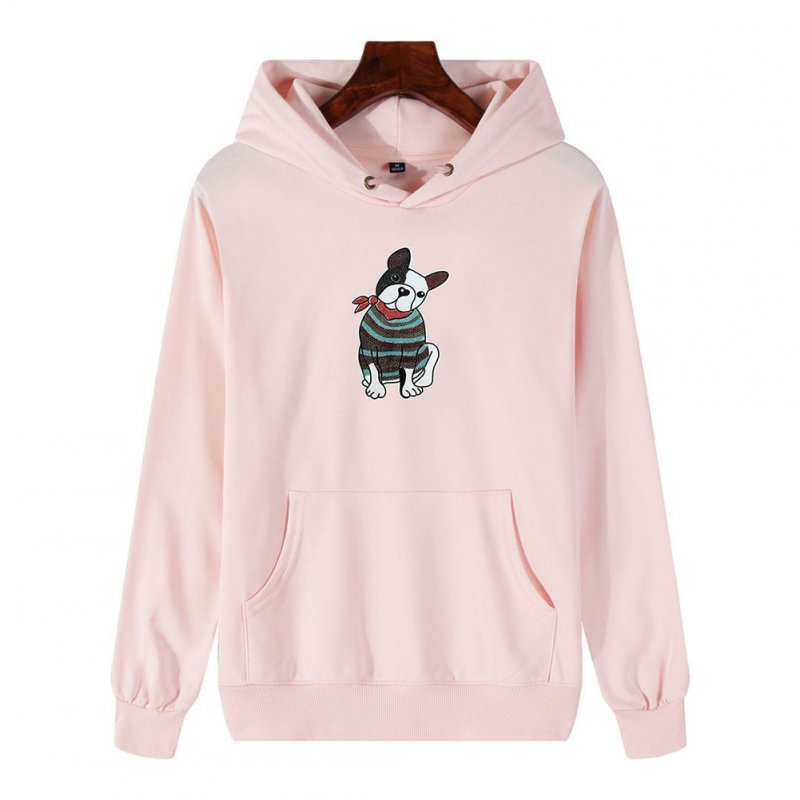 Men's Hoodie Fall Winter Cartoon Print Plus Size Hooded Tops Pink _XL