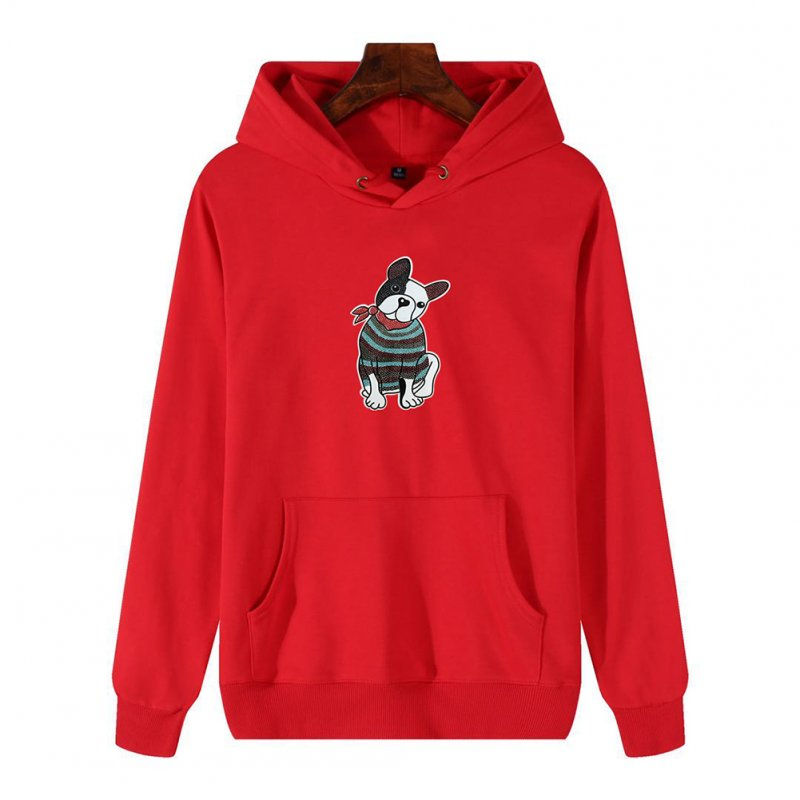 Men's Hoodie Fall Winter Cartoon Print Plus Size Hooded Tops Red _L
