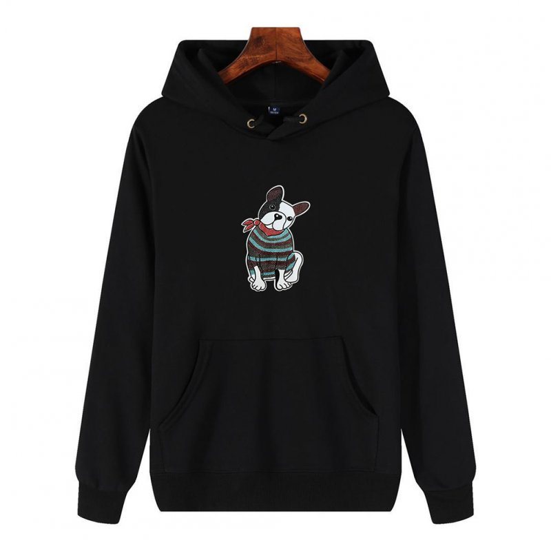 Men's Hoodie Fall Winter Cartoon Print Plus Size Hooded Tops Black_XL