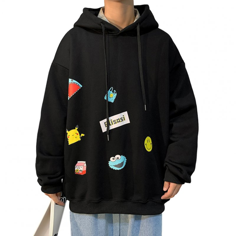 Men's Hoodie Fall Winter Cartoon Print Large Size Loose Long-sleeve Hooded Sweater Black _M
