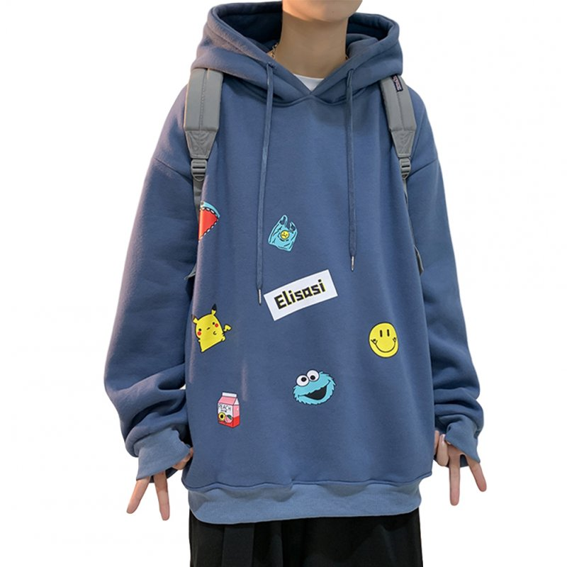 Men's Hoodie Fall Winter Cartoon Print Large Size Loose Long-sleeve Hooded Sweater Blue _L