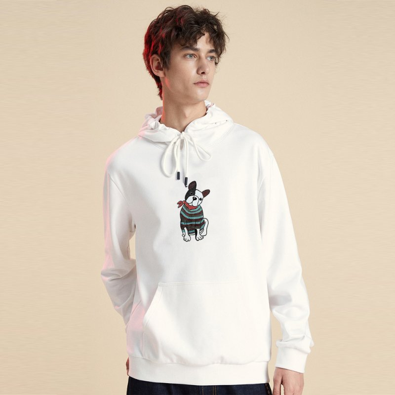 Men's Hoodie Fall Winter Cartoon Print Plus Size Hooded Tops White _M