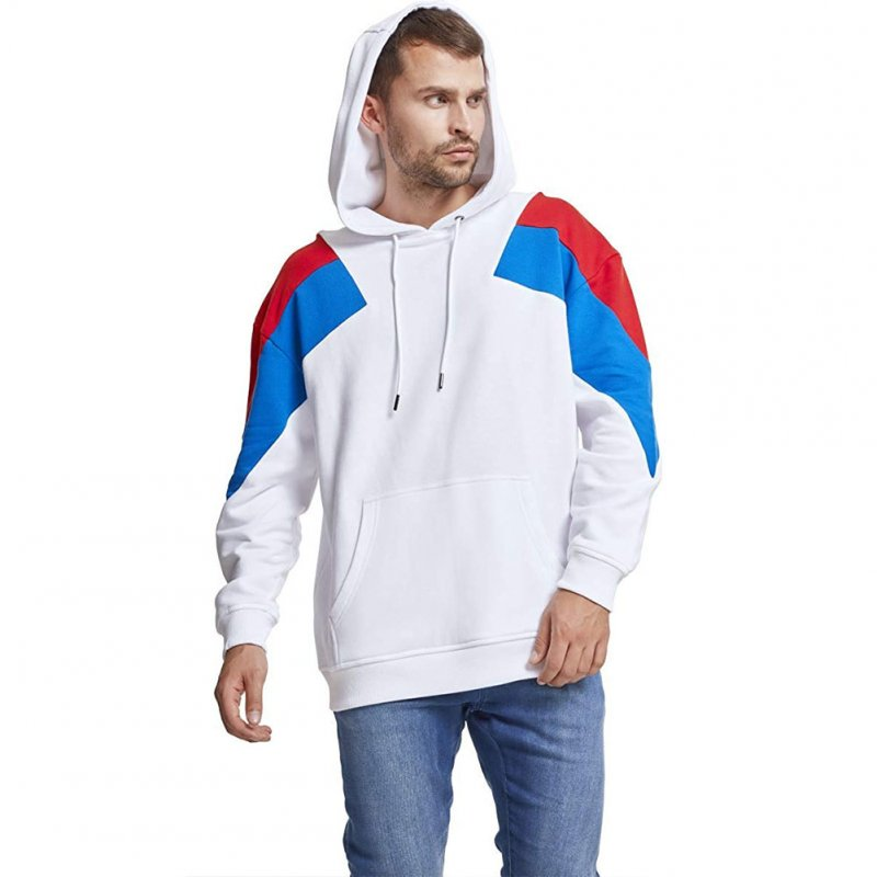 Men's Hoodies Color Matching Solid Color Crew-neck Pullover Hooded Sweater White _XL