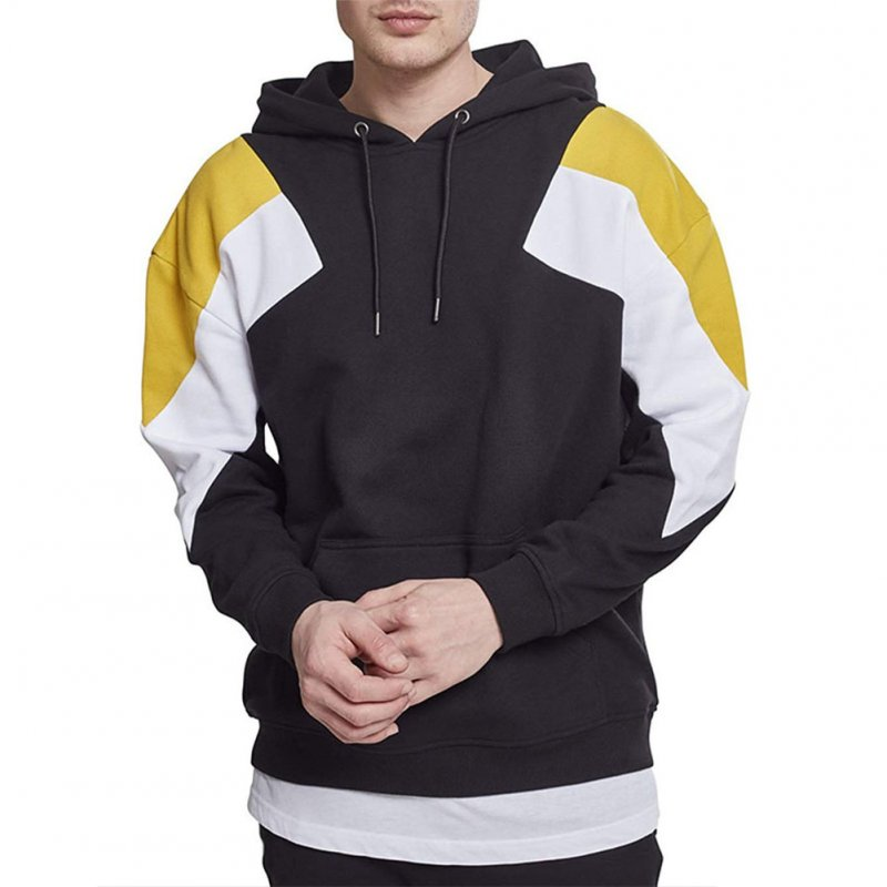 Men's Hoodies Color Matching Solid Color Crew-neck Pullover Hooded Sweater Black _L
