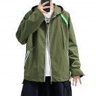 Men's Jacket Autumn Loose Solid Color Large Size Hooded Cardigan olive Green_L