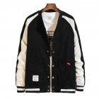 Men's Jacket Autumn Plus Size Corduroy Stand Collar Baseball Uniform Black _XL