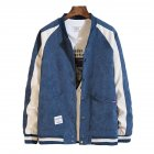 Men's Jacket Autumn Plus Size Corduroy Stand Collar Baseball Uniform Blue _L