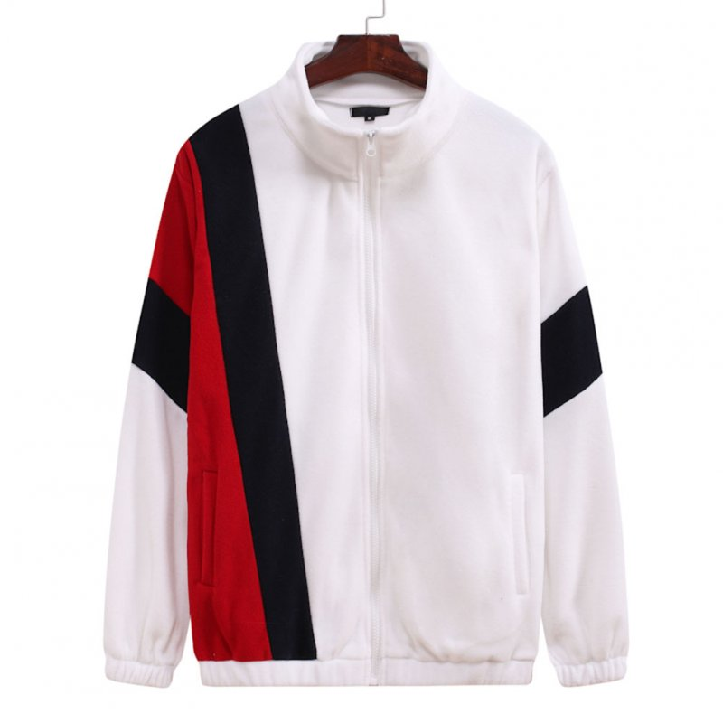Men's Jacket Autumn and Winter Three-color Splicing Casual Sports Coat white_M