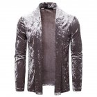 Men's Jacket Basic Fit Type Long-sleeve Lapel Mid-length Cardigan Light gray _M
