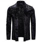 Men's Jacket Basic Fit Type Long-sleeve Lapel Mid-length Cardigan Black _L