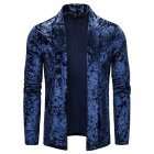 Men's Jacket Basic Fit Type Long-sleeve Lapel Mid-length Cardigan Navy _XL