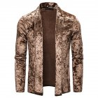 Men's Jacket Basic Fit Type Long-sleeve Lapel Mid-length Cardigan Brown _L