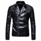 Men s Jacket Motorcycle Leather Autumn Large Size Lapels Pu Casual Jacket Black 2XL
