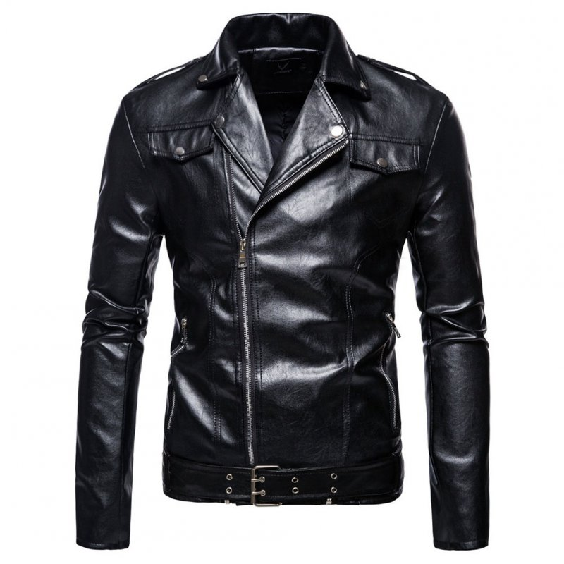 Men's Jacket Motorcycle Leather Autumn Large Size Lapels Pu Casual Jacket Black_2XL
