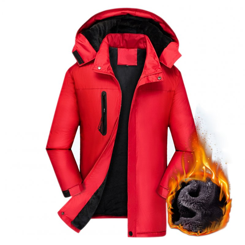 Men's Jackets Autumn and Winter Thick Waterproof Windproof Warm Mountaineering Ski Clothes red_L