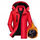 Men's Jackets Autumn and Winter Thick Waterproof Windproof Warm Mountaineering Ski Clothes red_3XL