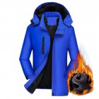 Men's Jackets Autumn and Winter Thick Waterproof Windproof Warm Mountaineering Ski Clothes blue_3XL