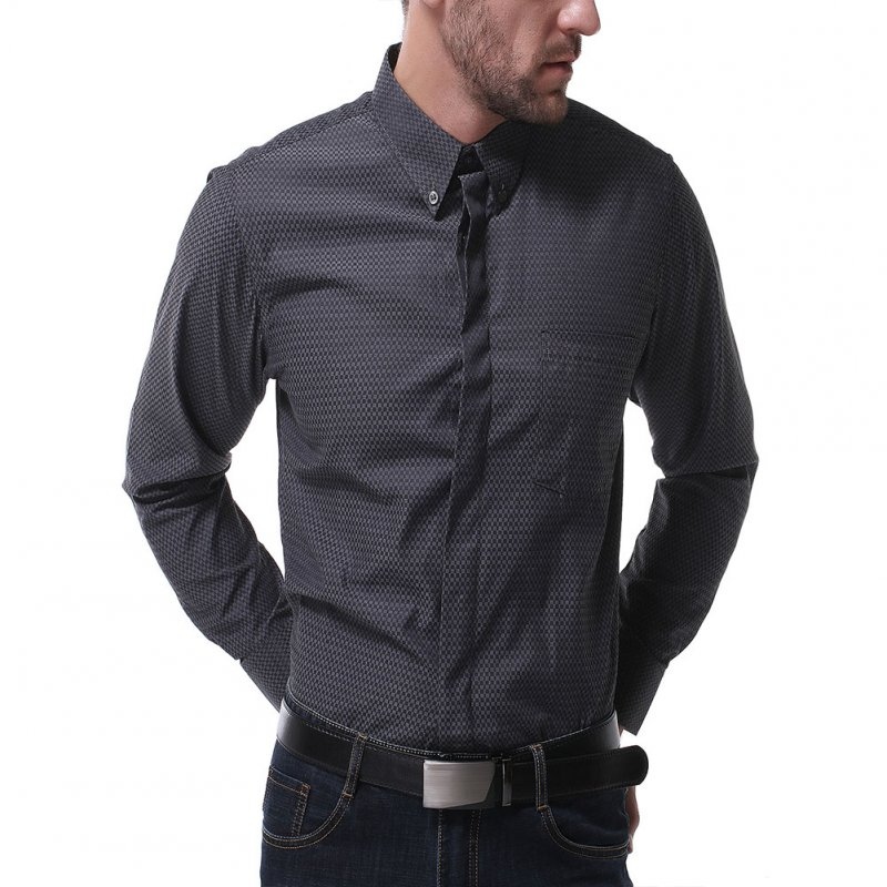 Men's Leisure Shirt Autumn Solid Color Long-sleeve Business Shirt Black _XL