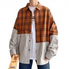 Men s Leisure Shirt Plaid Stitching Plus Size  Loose Casual Long sleeved Shirt Brown  XXL