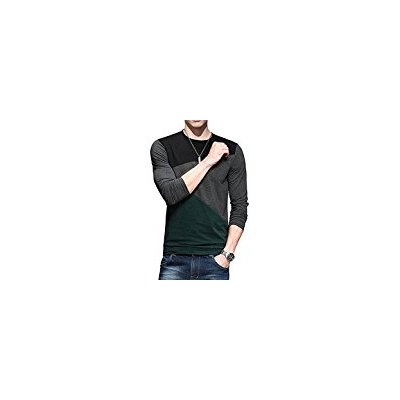 Men's Long Sleeve Patchwork Fit T-shirt