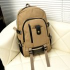 Men s Multi Pockets Outdoor Hiking Canvas Backpack Casual Travelling Bag High capacity Satchel Schoolbag Dark khaki