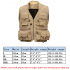 Men s Multifunction Pockets Travels Sports Fishing Vest Outdoor Vest L Khaki