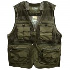 Men s Outdoor Sports Photography Fishing Multi Pocket Zipper Casual Loose Mesh Vest ArmyGreen   XXL