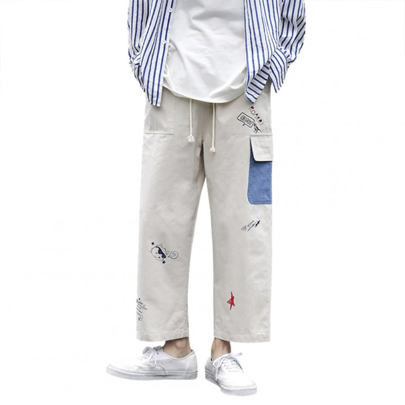 Men's Overalls Summer Loose Printing Straight Ankle-length Trousers Beige _M