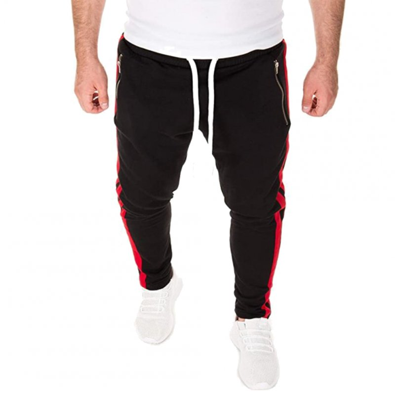 Men's Pants Loose Casual Stitching Beam Feet Sports Trousers Black _XL