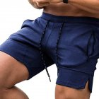 Men's Pants Summer Multicolor Sports Beach Zipper Pocket Loose Shorts Navy _2XL