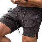 Men's Pants Summer Multicolor Sports Beach Zipper Pocket Loose Shorts Dark gray _XL