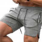 Men's Pants Summer Multicolor Sports Beach Zipper Pocket Loose Shorts Light gray_L